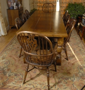 English Oak Refectory Table & 8 Windsor Chairs