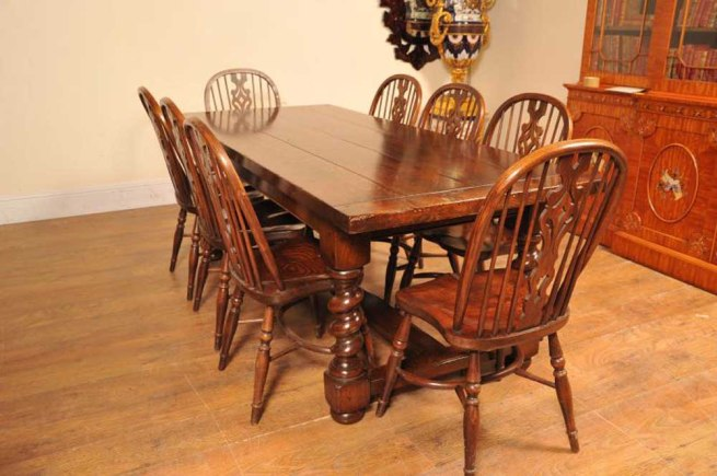 Kitchen Dining Set Refectory Table Windsor Chairs