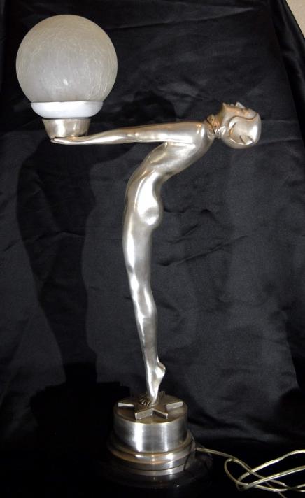 2.5 FT FRENCH DECO BRONZE LEVERRIER VERRIER BIBA LAMP LIGHT