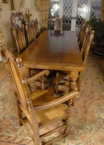 ENGLISH RUSTIC REFECTORY TABLE & WILLIAM MARY CHAIR SET