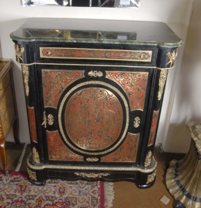 FRENCH BOULLE INLAY CABINET WITH MARBLE TOP