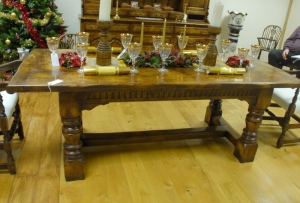 refectory table in oak abbey hand carved