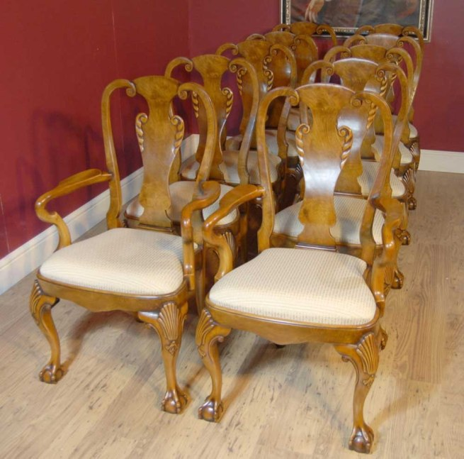 10 English Queen Anne Walnut Dining Chairs