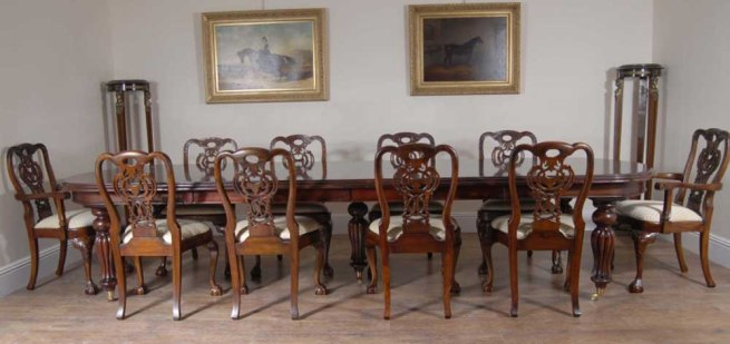 10 George II Dining Chairs & Victorian Table Set
