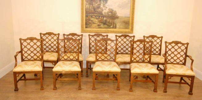 10 Hand Carved Mahogany Gothic Chippendale Dining Chairs English