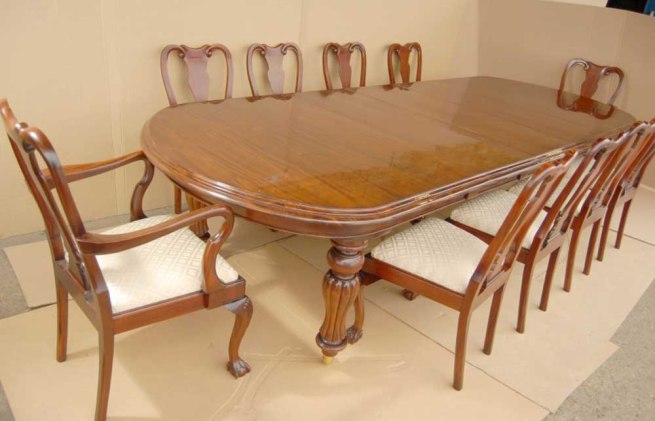 14 foot Victorian Dining Table & 10 Queen Anne Chairs