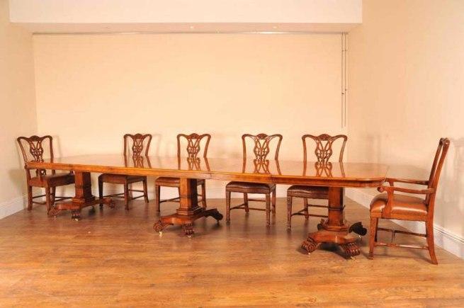14 ft Walnut Regency 3 Ped Dining Table Bullock Base Tables