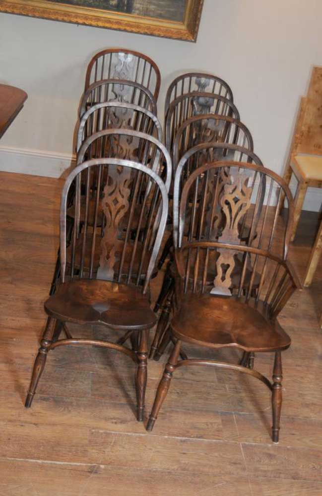 8 Antique Windsor Kitchen Dining Chairs Se