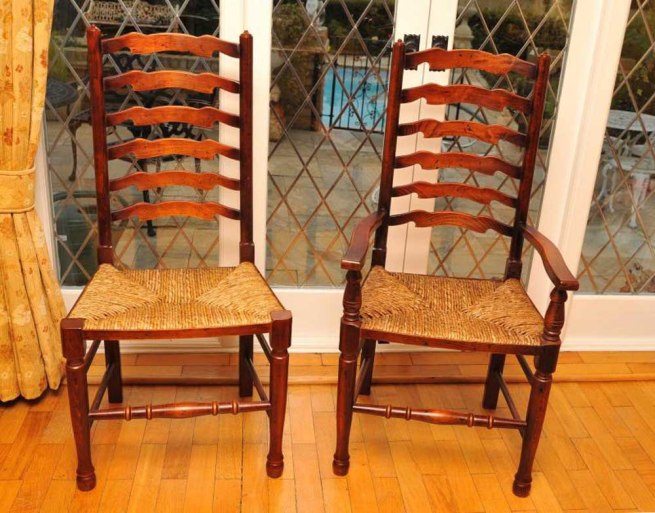 8 Rustic English Oak Ladder Back Chairs Ladderback