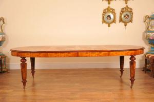 English Victorian Walnut Dining Table Marquetry Inlay