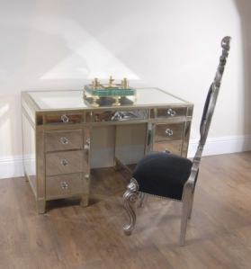 Art Deco Mirrored Pedestal Desk Writing Table