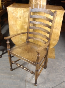 8 ENGLISH RUSTIC OAK LADDERBACK CHAIRS