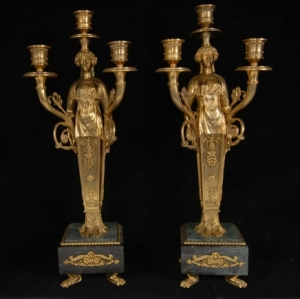 FRENCH EMPIRE ORMOLU MARBLE CANDELABRAS CANDLE STICKS