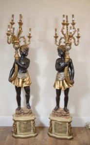 6ft Carved italienischen Neger Candelabras Torcheres Kerzen