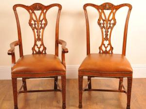 SET 10 HAND CARVED SEDIE Chippendale DINING CHAIR