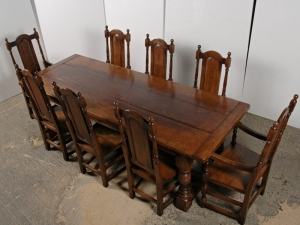 Englisch Gothic Farmhouse Refektorium Table & Chair Set