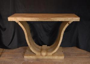 Blonde Walnut Art Deco Ogee Console Table Møbler Tabeller 1920