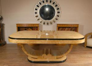Blonde Walnut Retro Art Deco Eettafel Tafels