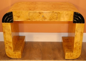 ART DECO BLONDE WALNUT WRITING DESK BUREAU CONSOLE TABLE