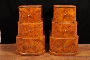 Deco Pair Tiered mesa de cabeceira Birch Chests Tabelas