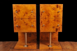 PAIR ART DECO BLONDE NOYER chevets CABINETS MODERNISTE