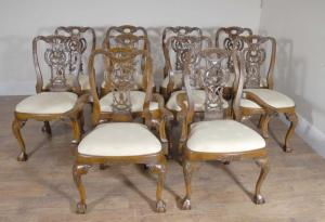110 Walnut engelsk George Ii Spisestuestoler Chair Set Carver
