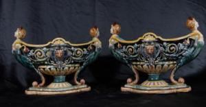 Pair English Majolica Pottery Planters Urns Porcelain