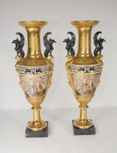 2ft French Sevres Porcelain Vases Urns Griffin