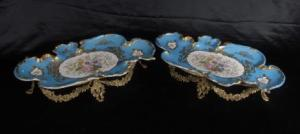 PAIR FRENCH SEVRES PORCELAIN PLATES ORMOLU STANDS DISH