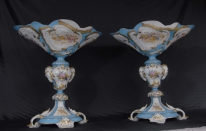 PAIR FRENCH PORCELAIN SEVRES TUREENS URNS PLANTERS