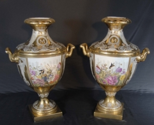 PAIR FRENCH SEVRES HAND PAINTED FLORAL VASES URNS