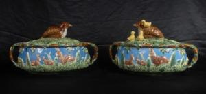 ENGLISH MAJOLICA RABBIT POTTERY TUREENS DISHS BOWLS