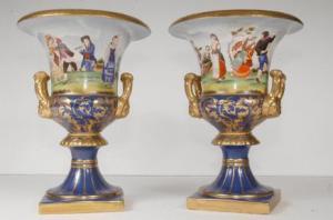 Pair Russian Werbiliki Porcelain Urns Campana