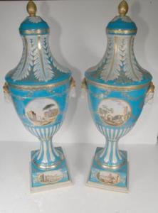 XL Russian Werbiliki Porcelain Vases Urns