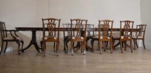 Regency Тройной Пьедестал таблице Set 10 Чиппендейл стулья
