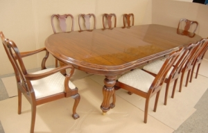 14 Foot Victorian Dining Table & 10 Queen Anne Stoler