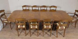 Regency Walnut Dining Table & 10 William IV Stoler Set