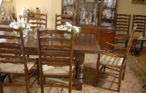 English Oak refektoriet Table & Ladderback Chair Dining Set