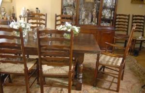 英国橡树食堂表Ladderback椅餐台