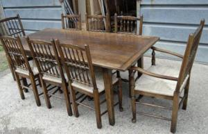 Farmhouse refektoriet Table & Set 8 Spindleback Chairs Kitchen Set