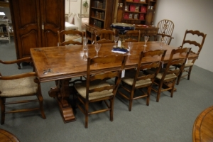 9 ft French Fleur De Lys Oak Kitchen Table