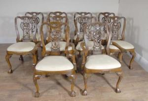 10 Walnut engelsk George Ii Spisestuestoler Chair Set Carver