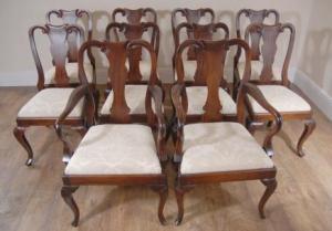 10 Mahogany engelsk Queen Anne Spisestuestoler Chair