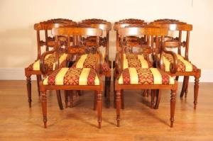 Sett 8 Walnut Inlay Regency Spisestuestoler Chair engelsk