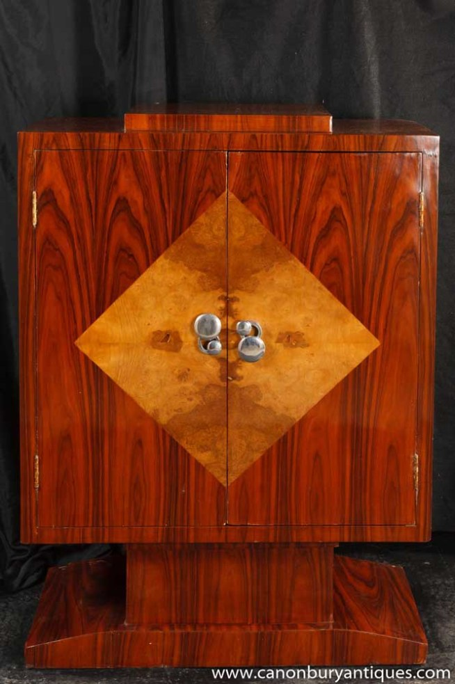 Art Deco Cabinet Mahogany Chest 1920s Furniture Lozenge Inlay