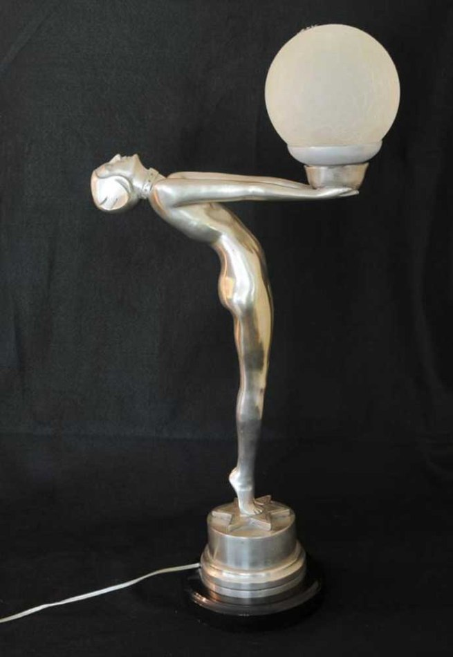 Bronze Art Deco Figurine Biba Lamp Statue Light French Chic