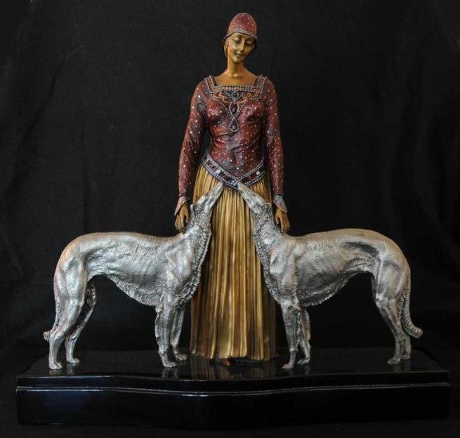 Chiparus Art Deco Bronze Figurine Borzoi Dogs Statue French