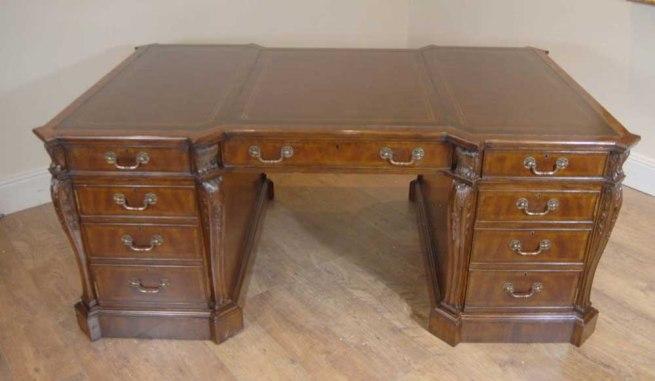 Chippendale Mahogany English Partners Desk Desks Office Bureau Writing