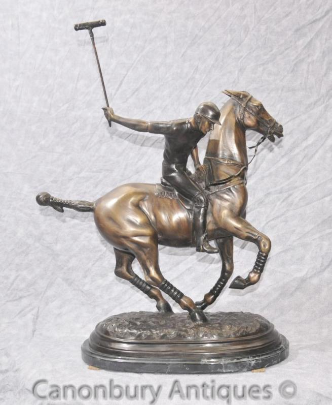 English Bronze Polo Player & Horse Casting Statue