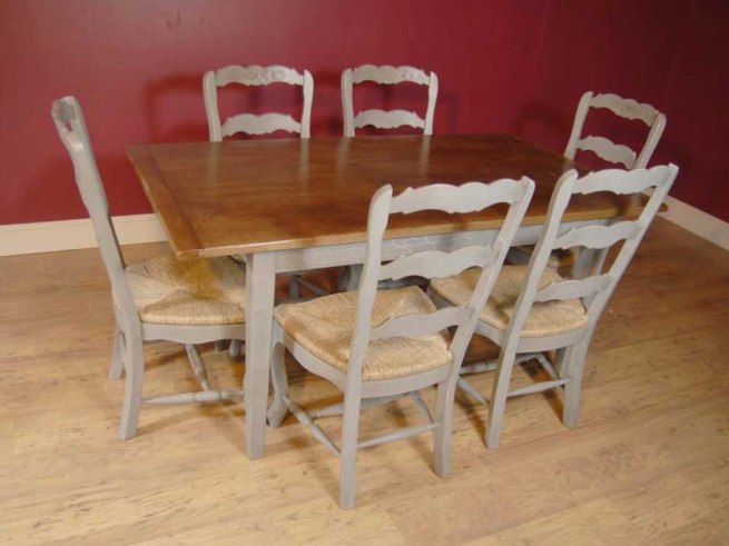 English Farmhouse Painted Ladderback Chair & Kitchen Refectory Table Set
